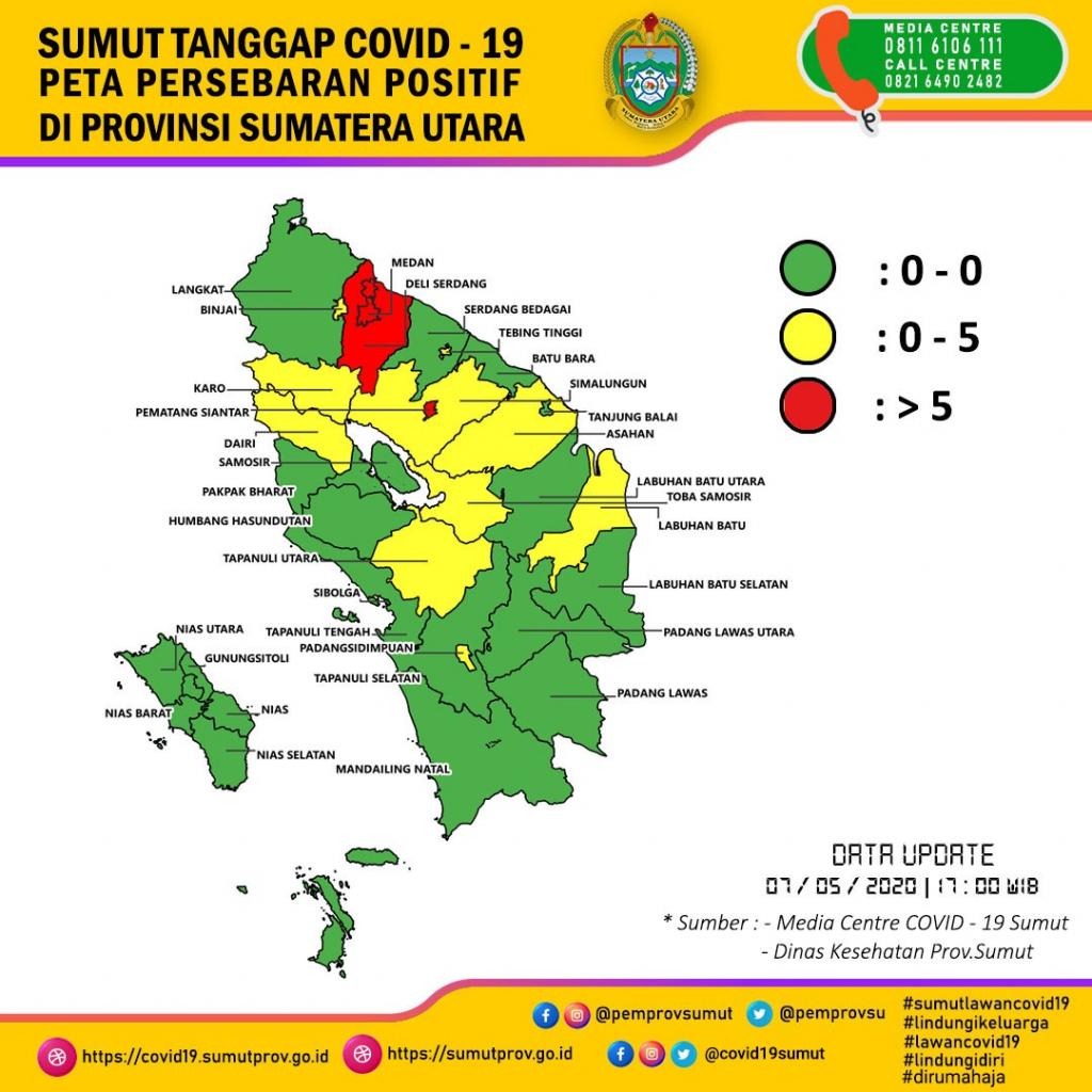Peta Persebaran Positif di Provinsi Sumatera Utara 7 Mei 2020